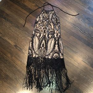 Black fringe lace dress